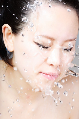 Beautiful wet woman face with water drop photo