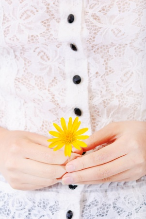woman detail with a flower in her hands Stock Photo - 13405791
