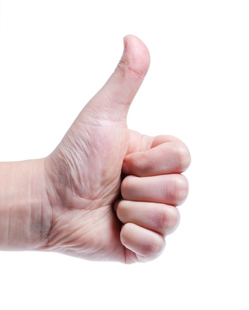 man's thumb: Mens hand doing thumbs up isolated on white background.