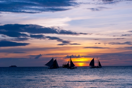 yachts in sunset