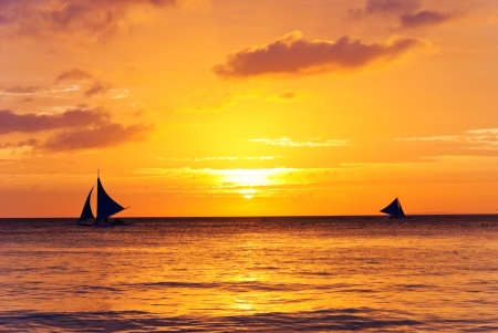 yachts in sunset photo