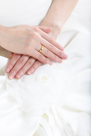 hands of the bride with a ring photo