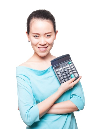 Young Asian women to take a calculator, financial symbols Stock Photo - 15896404