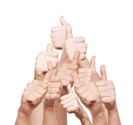 hand of business group with thumbs up Standard-Bild