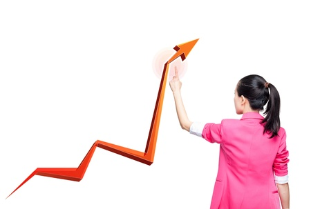 Business woman holding an rising arrow graph photo