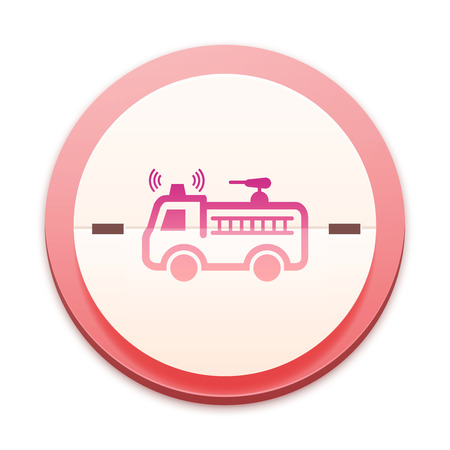 Pink icon, fire truck symbol photo