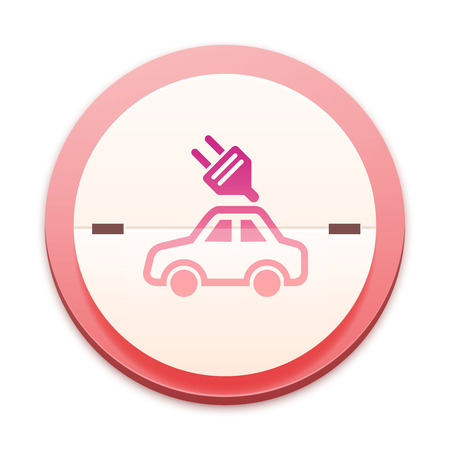Pink icon, car with power symbol photo