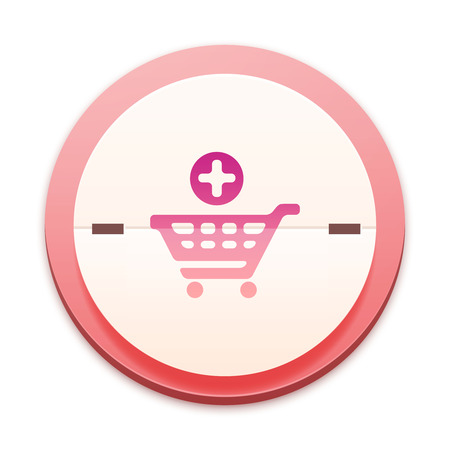 Pink icon, shopping plus symbol photo