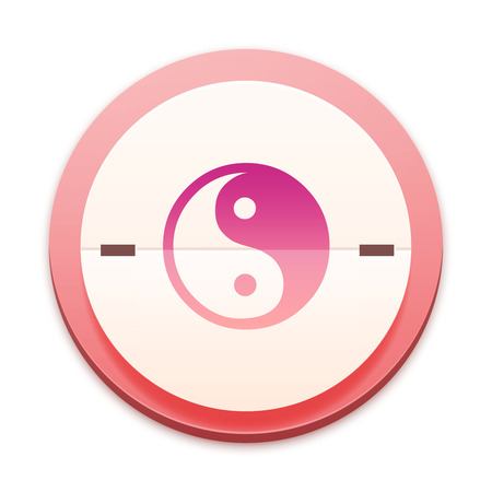 tai chi: Pink icon, tai chi symbol Stock Photo