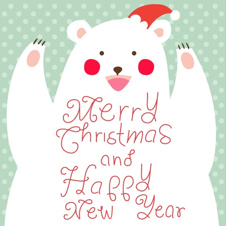 Happy Christmas Bear,greeting card Vector