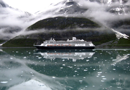 Cruise ship in cold Alaskan waters