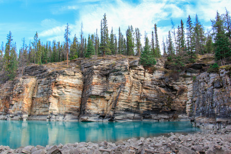Powerful picturesque athabasca falls and river canada