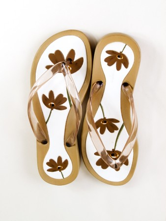 sommer: Sommer flip-flop in flower pattern Stock Photo