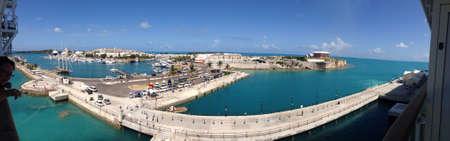 dockyard: Panorama of the Royal Naval Dockyard in Bermuda. Stock Photo