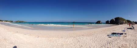 Panorama of Horseshoe Bay Beach in Bermuda.