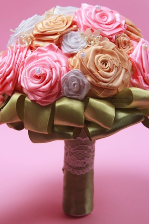 luxury apartment: Wedding bouquet on pink background