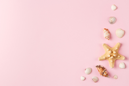Seashells and starfish on a pale pink background. Summer time concept. Top view. Archivio Fotografico