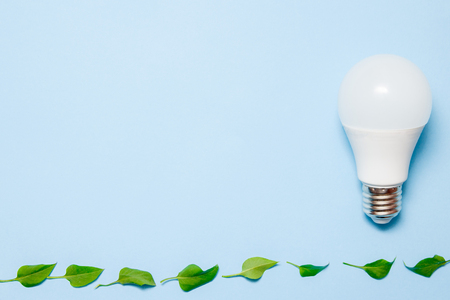 Led lamp with leaves on a blue background. Green energy efficiency concept. Top view. Banco de Imagens