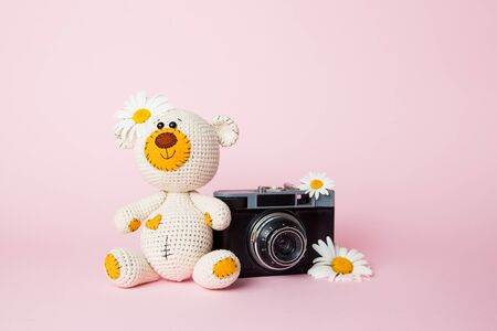 Toy teddy bear with daisies and vintage old camera isolated on a pink background. Baby background. Copy space. Banque d'images