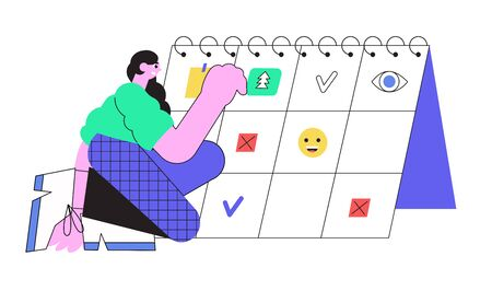 Vector line illustration of a woman successfully organizing her work in a calendar by putting reminder notes. Efficient and effective time management concept for web design, articles, ui, banners.