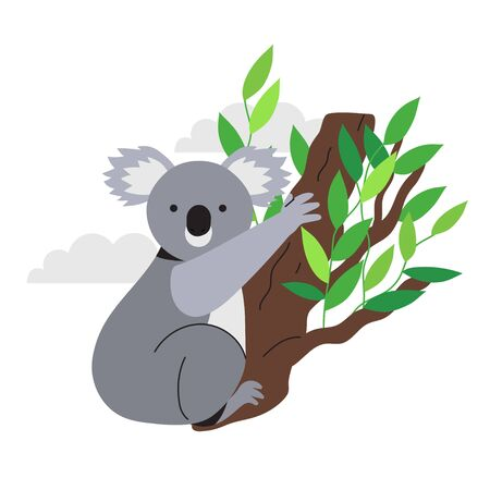 Vector illustration of a cute and friendly koala bear searching for food by climbing eucalyptus or gumtree in Australia bush forest. Koala drawing for ecological and environment problems articles.