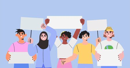 Diverse multicultural multiethnic group people holding signs, banners and placards on a protest demostration or picket. People against violence, pollution, discrimination, human rights violation, war.