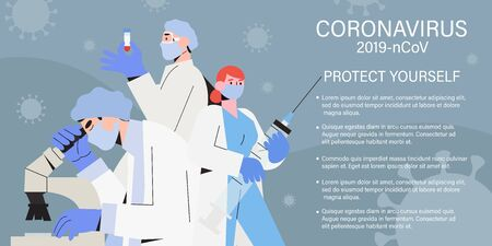 Doctor team or medical health care professionals fighting with coronavirus pandemic or coronavirus disease 2019 COVID-19. Informing people about self protective measures, treatment and prevention.
