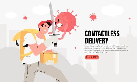 Brave courier man with a parcel or package and thermal box contactlessly transfers the order and fight with sword and shield with coronavirus. Quarantine Food Delivery Service or humanitarian aid.