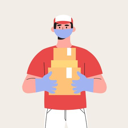 Couriers holding package in medical mask and gloves. Concept of contactless or to the door delivery. Coronavirus quarantine shop or store food or medical supplies express fast delivery service.