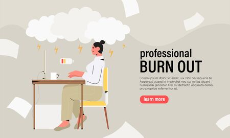 Emotional burnout concept with exhausted female worker or freelancer sitting at table in office or home. Frustrated angry depressed stressed worker, mental health problems banner, flyer, landing page.