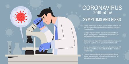 Doctor scientist or health care professional testing Clinical Specimens for Coronavirus Disease 2019 COVID-19. Medical specialist check Initial diagnostic test with microscope. Vaccine research.
