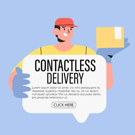 Couriers holding package and banner in medical gloves. Concept of contactless or to the door delivery. Coronavirus quarantine shop or store food or medical supplies express fast delivery service.