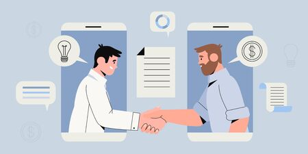 Two businessman settle contract with signing up contract and handshake. New profitable project start up sponsored by investor. Busines concept of two male characters in smartphone making deal. Vettoriali