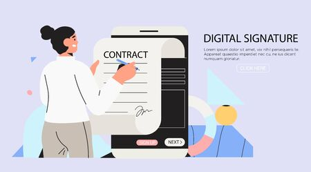 Business woman signing up smart or electronic contract with digital signature on smartphone. Data protection and privacy policy banner, flyer, landing page. Settle contract or make deal online. Vector Illustration