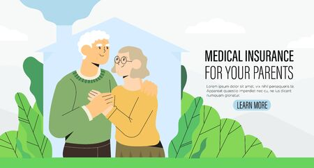 Senior Citizen Health Insurance plan or medical insurance policy, medical coverage offer for parents grandparents banner, flyer, landing page. Happy elderly couple, standing embraced holding hands.