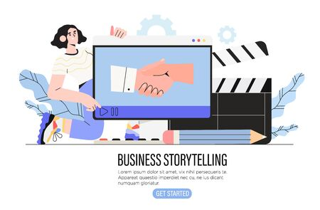 Video or digital storytelling for business or social media vector illustration for banner, ui. Girl designer use digital tools to tell story or present an idea in video format to share in internet.