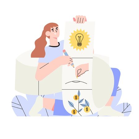 Woman holds schematic plan of a storyboard for digital storytelling or animation. Vector illustration for business or social media, ui, banner, landing page. Story of business or start up growth.