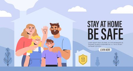 Happy healthy family stay at home in isolation during quarantine on isolation. Smart home security system or insurance concept. Mother father and daughter spend time together in their house. Illustration
