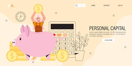 Personal capital of finance assistant application to calculate and controll family budget concept. Girl holds golden coin and will put it to piggy bank. Smart investmet, money and payment management.