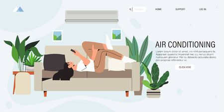 A woman rest on a sofa comfortably in a living room equiped with an air conditioning or cooling system during hot summer days and escaping heat. Smart air conditioner climate control system for home.