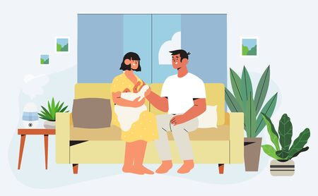 Happy family sitting on sofa in renovated apartment with trendy interior and furniture with house plants holding newly born child. Concept of family or house insurance for banner, landing page. Ilustracja