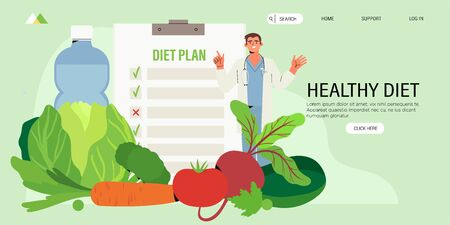 Dietitian online online consultation. Concept of healthy eating, personal diet or nutrition plan from dieting expert or online nutrition course or marathon for social media banner, web page, flyer.