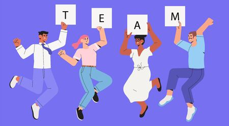 Company workers, colleagues, employees or coworkers jump cheerfully. Concept of team success, teambuilding, happy successful people jumping. Office characters or business team celebrating, dancing