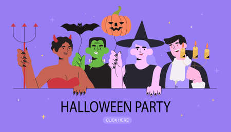 Group of happy people in costumes of witch, devil, vampire and frankenstein monster celebrate halloween with balloons. Concept of halloween party with cartoon characters for banner, web page, flyer. Ilustracja