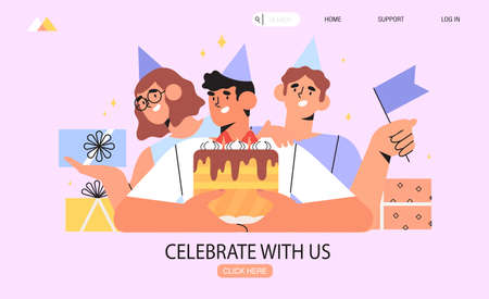 Group of happy smiling people holding gift box or presents and celebrating birthday or company anniversary. Men and women having birthday party with birthday cake. Grand opening with presents concept. 向量圖像