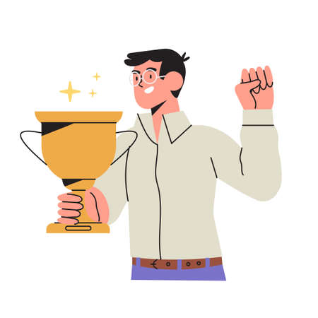 Happy man holds gold champion cup isolated on white background in flat cartoon style. Businessman or entrepreneur celebrate victory, professional achievement, career or job success or triumph.