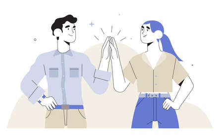 Man and woman clapping hands in high five isolated on white in trendy outline flat style. Concept of business or startup success, teamwork, cooperation, score a deal or nailed it. Work done.
