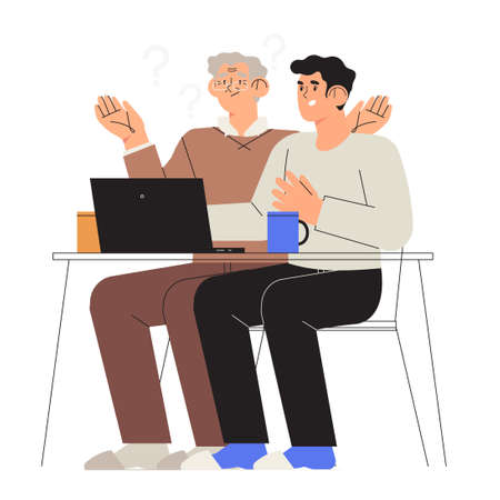 Son, grandson help or teach his dad or drandfather to work with computer or laptop. Senior people study or have problems with new technology. Old people assistance in distant work or online shopping.