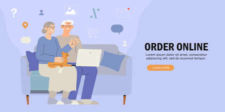 Old people use internet. Modern senior people with laptop. Oldster computer education. Progressive grandparants use notebook to order, pay or buy online. Elderly couple learning to use PC.