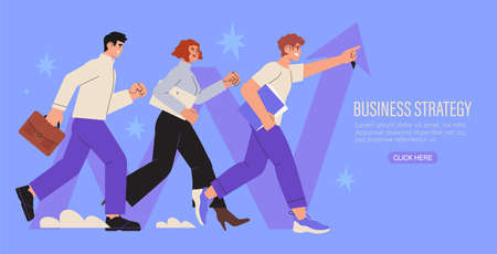 Business strategy, analysis, growth, success, leadership concept. Successful businessman, businesswoman, team, partners walking together. Start up, company employees working together, teambuilding. Stock Illustratie
